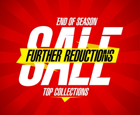 End of season sale, further reductions design template Vector