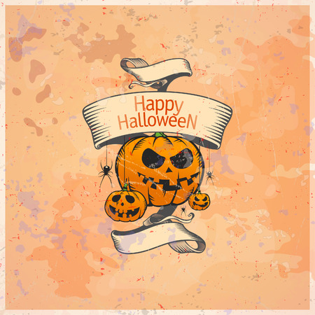 Halloween card with pumpkins and retro ribbon. Eps10. Vector