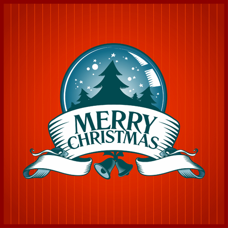 Christmas card with snow globe. Vector