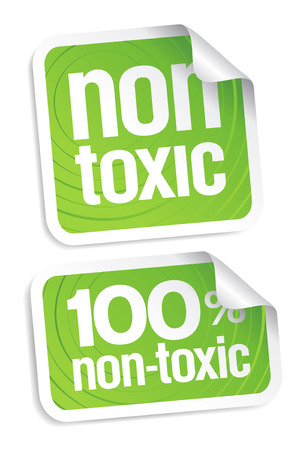 Non toxic product stickers set. Vector