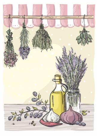 Hand-drawn still life with bindings herbs and olive oil with vegetables. Vector