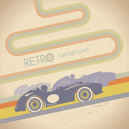Racing design template with retro sports car and place for text. Vector