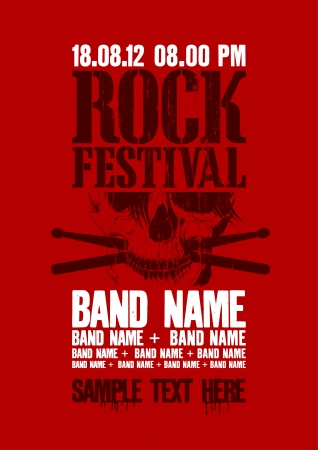 musical band: Rock festival design template with skull and place for text.