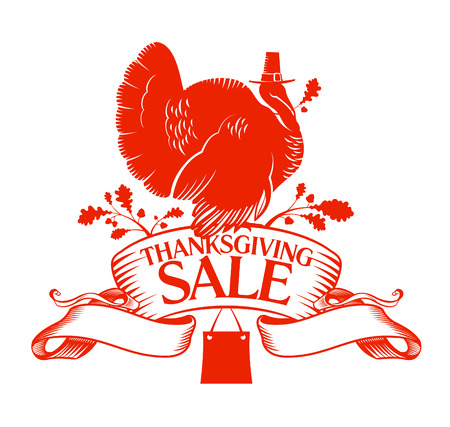clothing label: Thanksgiving Day sale design template. Illustration