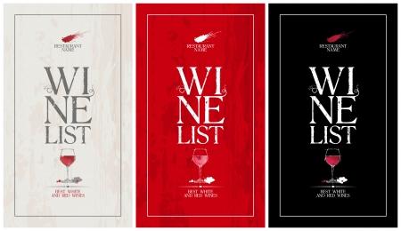 wine list: Wine list menu cards collection