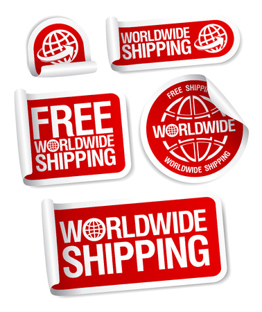 paper delivery person: World-wide shipping stickers set. Illustration