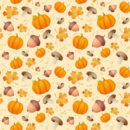 acorns: Autumn seamless background with leaves, acorns and pumpkins  Illustration