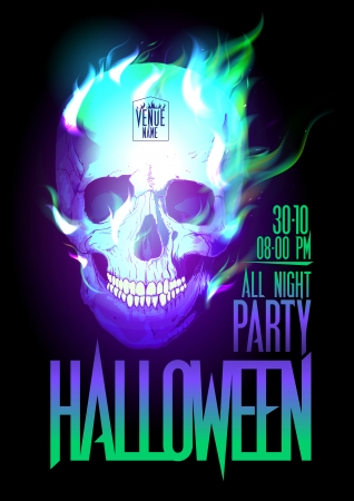 Halloween party design with skull in flames and place for text  Eps10 Vector