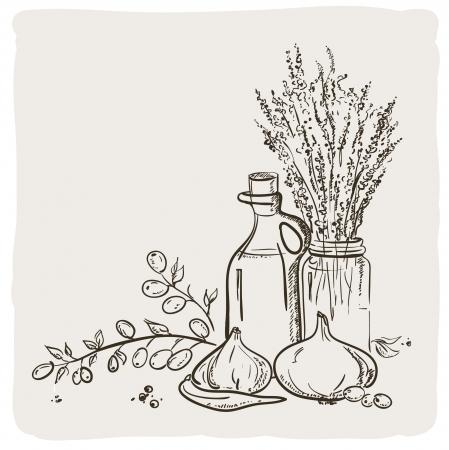 瓶、野菜とオリーブの枝のスケッチ  イラスト・ベクター素材