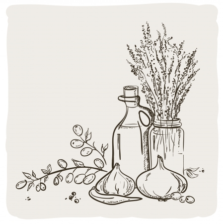 Sketch of branch with olives, bottle and vegetables