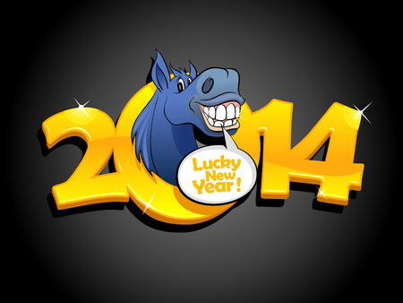 Gold 2014 new year design with blue horse