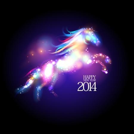 抽象的なネオン馬と 2014年新年デザイン。
