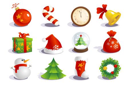 botas de navidad: New year colecci�n s�mbolos tradicionales.