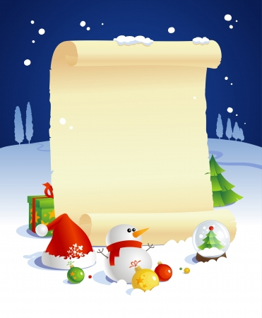 New year design with paper roll and gifts against night winter landscape. Vector