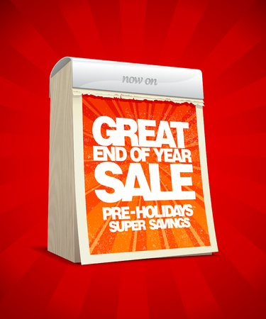 End of year sale design in form of tear-off calendar.  Vector