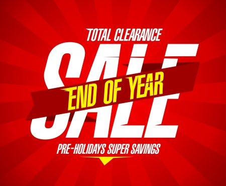 End of year final clearance design in retro style with ribbon  Vector
