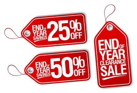 etiquetas de ropa: Fin de las etiquetas de ahorro de venta año establecido. Vectores