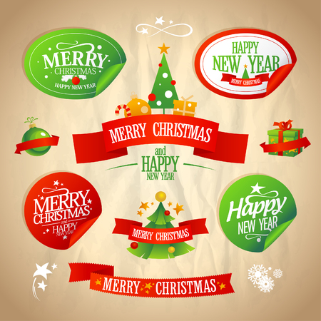 New year and Christmas designs collection in retro style.  Eps10. Vector