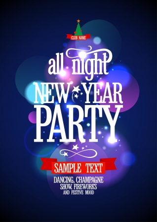 New Year Party design with bokeh lights. Eps10. Vector