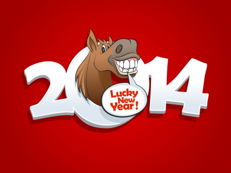 2014 year design with cartoon horse talking lucky new year.