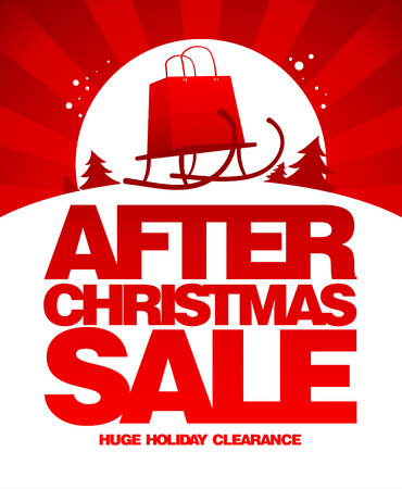 After christmas sale design template with shopping bag on a sled. Illustration