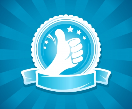 finger up: Hand thumbs up emlbem for best of the best. With place for text.