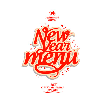 special event: New Year menu card design template.
