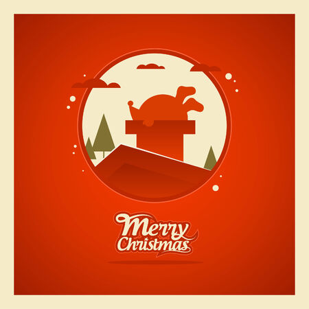 housetop: Santa Claus stuck in a chimney, Christmas card.