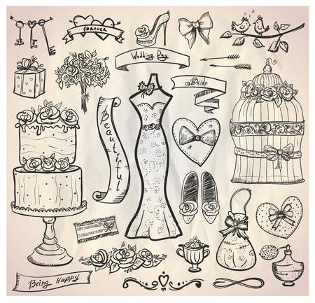 fragranza: Cerimonia nuziale nuziale set grafico con torta, abito, accessori, cuori e nastri. Eps10.