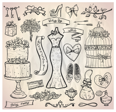 Wedding bridal graphic set with cake, dress, accessories, hearts and ribbons. Eps10. Vector