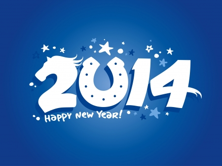2014 year design template with horse. Vector