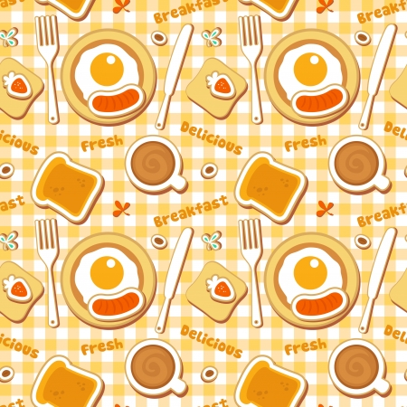 Seamless breakfast pattern. Vector