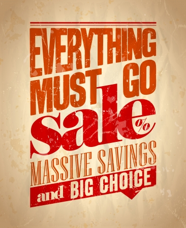 Everything must go sale retro poster. Eps10. Ilustrace