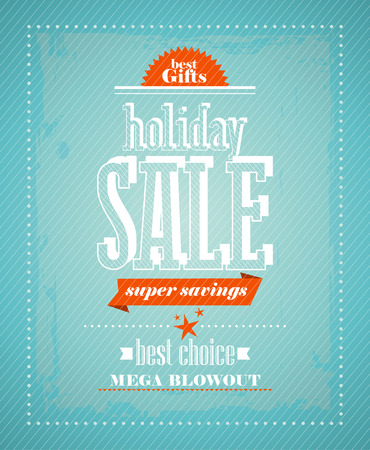 Holiday sale, super savings design in retro style. Vector