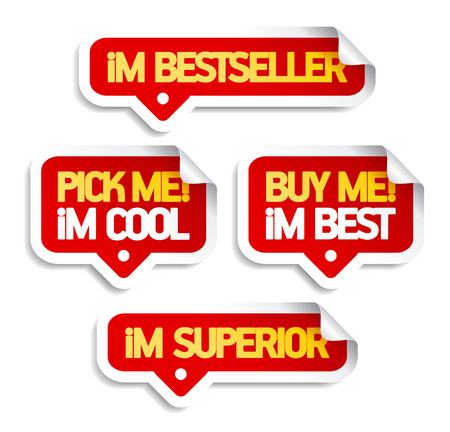pick: I am bestseller, buy me. Speech bubbles set for retail.