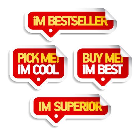 Ik ben bestseller, koop me. Tekstballonnen voor retail.