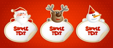 New year stickers frames with Santa, deer and snowman. Vector