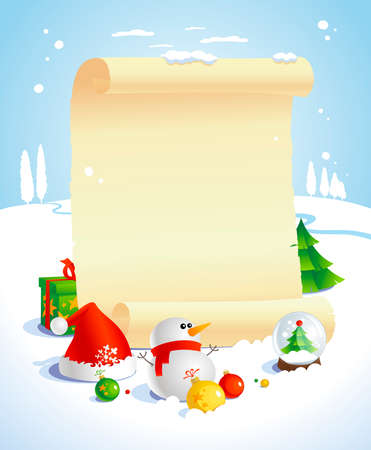 Christmas design with paper roll against winter landscape. Vector
