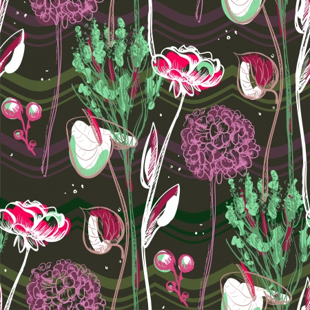 Retro pattern with flowers. Vector