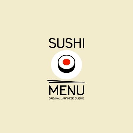 sushi chopsticks: Sushi menu card design template.