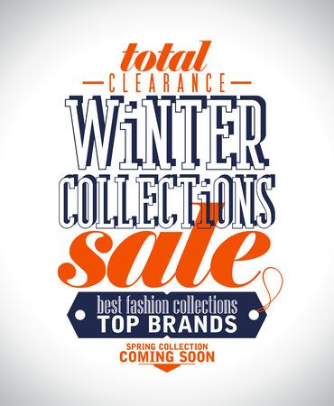Collecties winter te koop poster in retro stijl.
