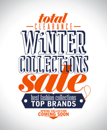 Winter collections sale poster in retro style. Vector