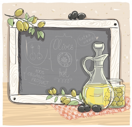market place: Illustration of olives and a bottle of olive oil with chalk board.