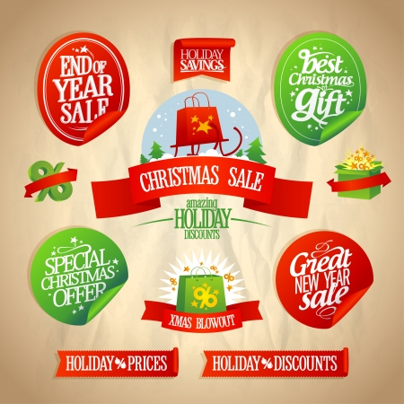 New year and Christmas sale designs and stickers collection in retro style.  Vector