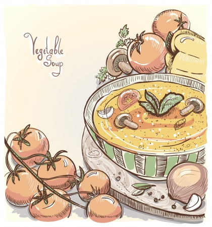Illustration of vegetable soup with tomatoes, peppers and mushrooms.