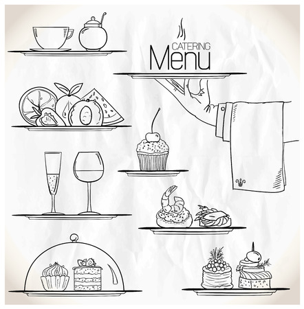 Graphic illustration with catering symbols on a paper.