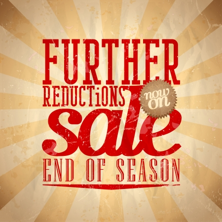 Further reductions sale design in retro style. Vector