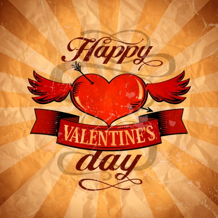 Happy Valentine`s day design in retro style with winged heart.  Vector
