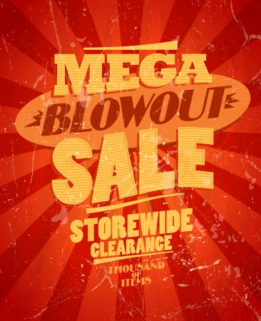 Mega blowout sale, storewide clearance design in retro style. Vector