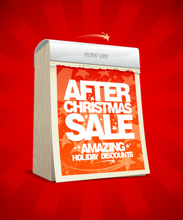 After christmas sale design in form of tear-off calendar. Stock Vector - 24384362